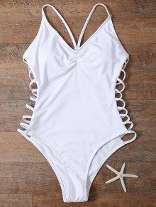 Cutout High Cut One-Piece Swimwear - White
