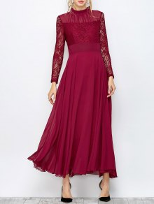 Lace Chiffon Ruffle Collar Evening Dress - Burgundy L