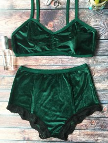 Lace Hem High Waisted Velvet Bra Set - Blackish Green M