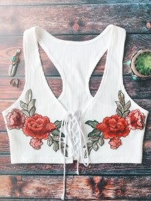 Lace Up Embroidered Knitted Cropped Tank Top - White