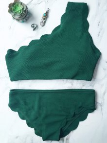 Wireless Scalloped One Shoulder Bathing Suit - Blackish Green