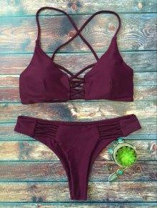 Lace-Up Cutout Strappy Bikini Set