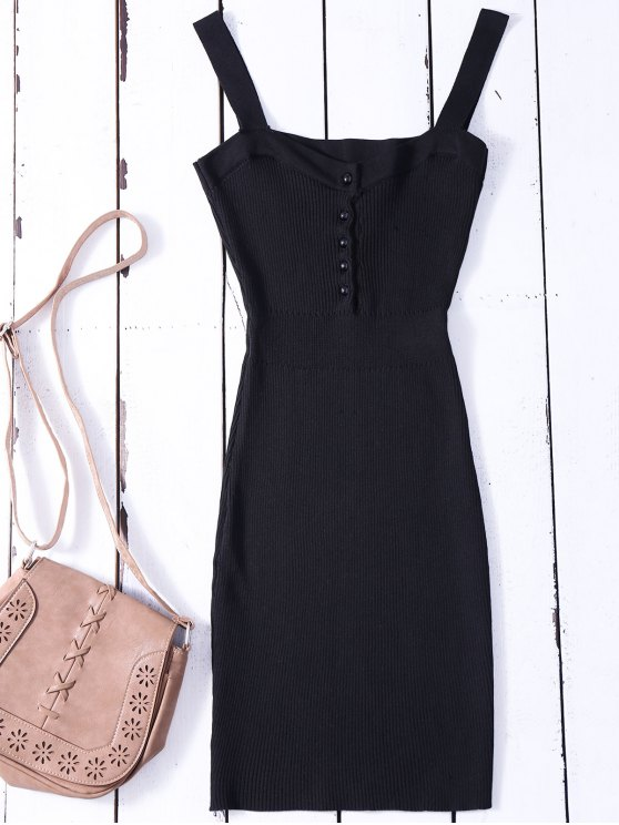outfit Wide Strap Bodycon Sweater Dress - BLACK ONE SIZE