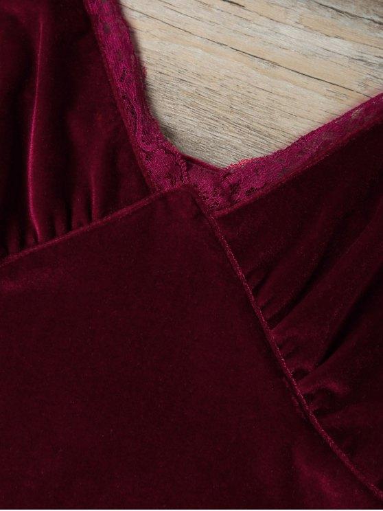 Lace Trim Velvet Camisole Top - BURGUNDY M Mobile