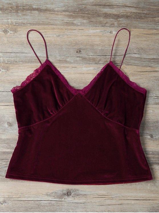 Lace Trim Velvet Camisole Top - BURGUNDY S Mobile