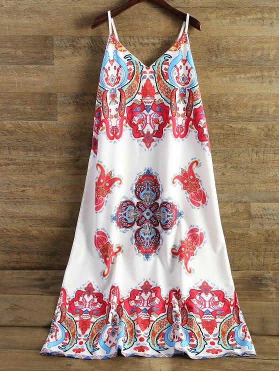 Printed Camisole Midi Dress - WHITE M Mobile