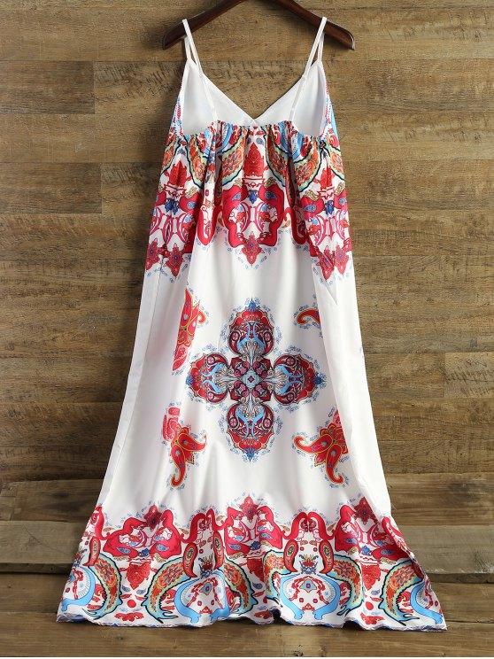 Printed Camisole Midi Dress - WHITE XL Mobile