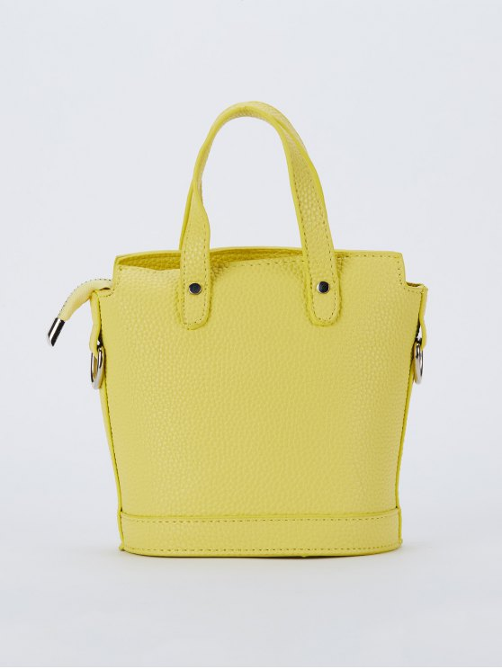 Textured Crossbody Handbag - YELLOW  Mobile