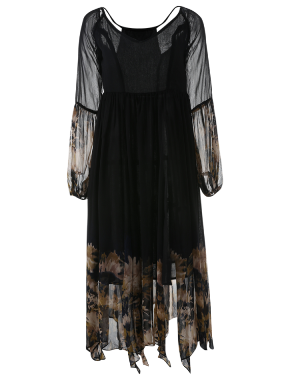 women Long Sleeve Printed Maxi Chiffon Dress - BLACK L