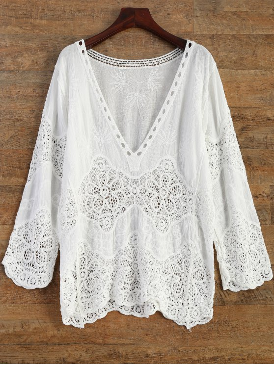 trendy Crochet Plunge Beach Cover-Up Dress - WHITE ONE SIZE