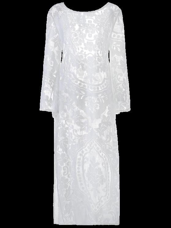 buy Flare Sleeve Sheer Lace Maxi Dress - WHITE S