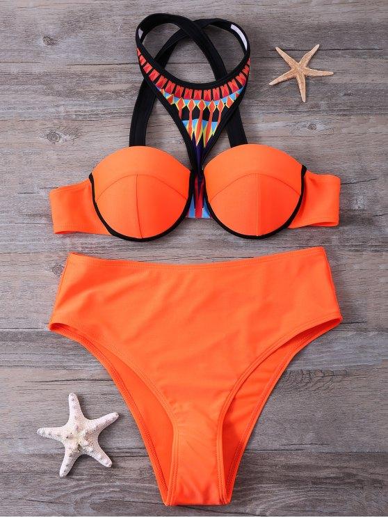 fancy Print Panel Push Up Bikini Set - JACINTH M
