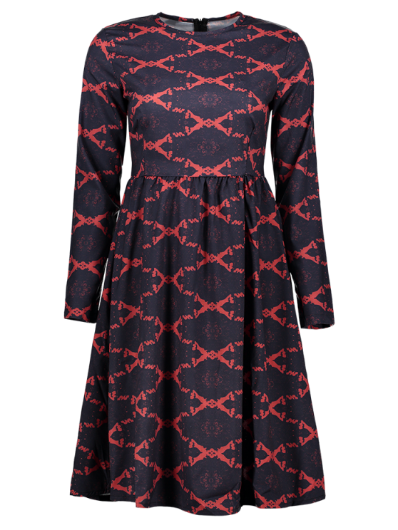 fancy Argyle Fit and Flare Long Sleeve Dress - RED S