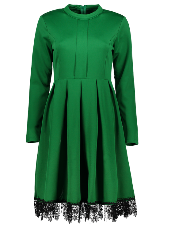 shop Lacework Stand Collar Flare Dress - GREEN S