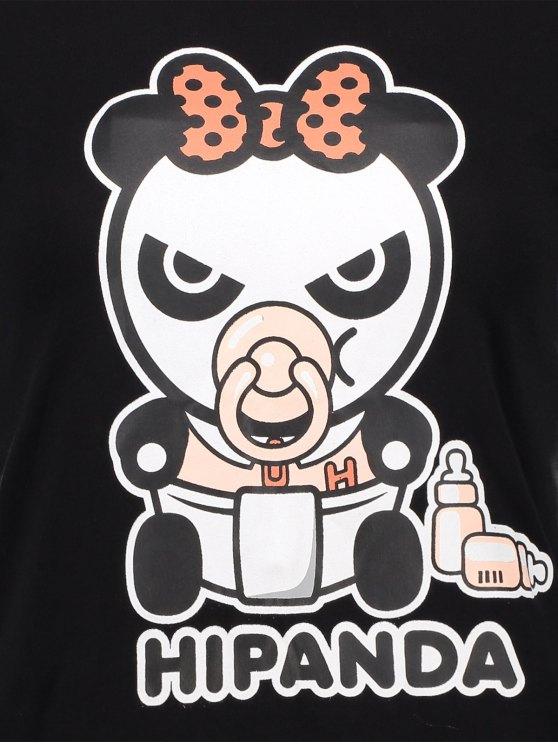 Cartoon Panda Pattern Tee - BLACK M Mobile