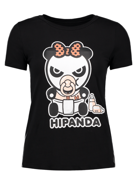 womens Cartoon Panda Pattern Tee - BLACK S