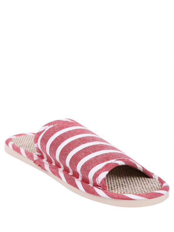 Linen Striped Cotton Fabric House Slippers - CLARET SIZE(39-40) Mobile