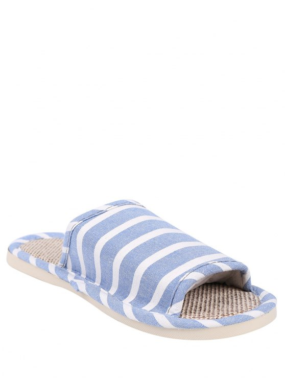 Linen Striped Cotton Fabric House Slippers - LIGHT BLUE SIZE(39-40) Mobile