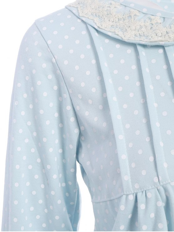 Peter Pan Collar Polka Dot Loungewear Set - LIGHT BLUE M Mobile