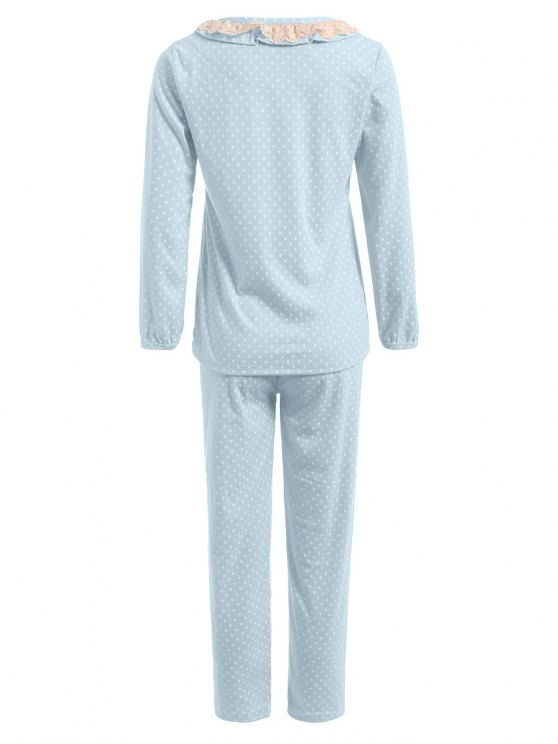 Peter Pan Collar Polka Dot Loungewear Set - LIGHT BLUE L Mobile