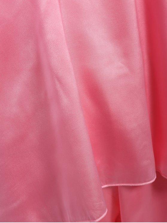 Fringed Ruffle Pullover Faux Silk Loungewear - DEEP PINK XL Mobile