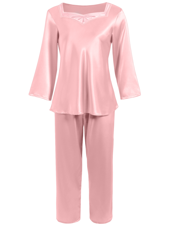 Faux Silk Sweetheart Neck Pajama Suit - PAPAYA M Mobile