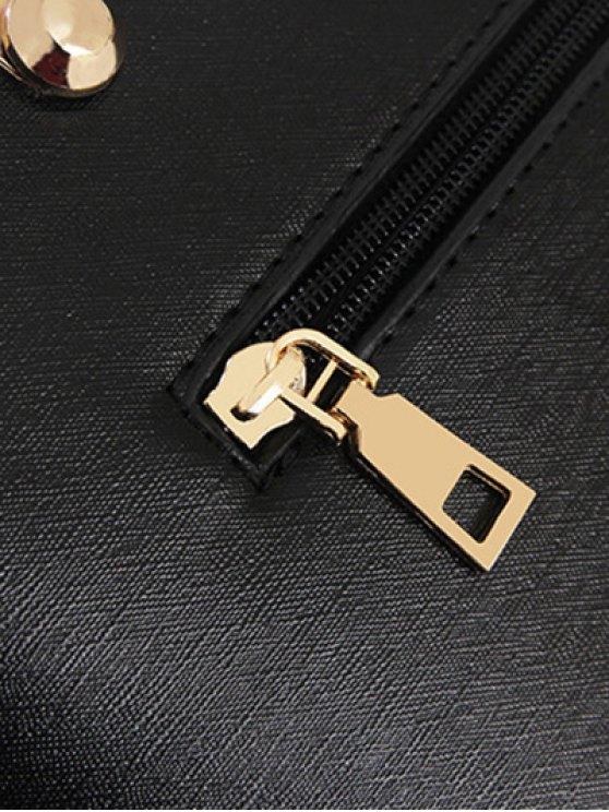 Metal Embellished Handbag Set - ROSE RED  Mobile