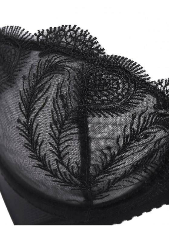 Ultra Thin Embroidered Bra Set - BLACK 85D Mobile