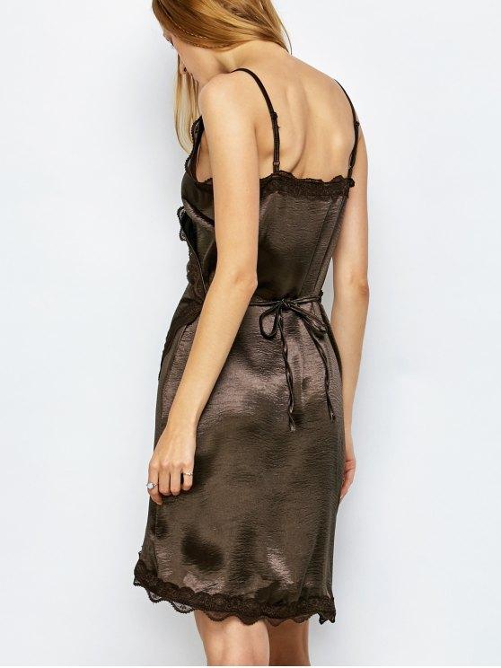 Lace Trim Slip Party Wear Dress For Women - DARK COFFEE XL Mobile