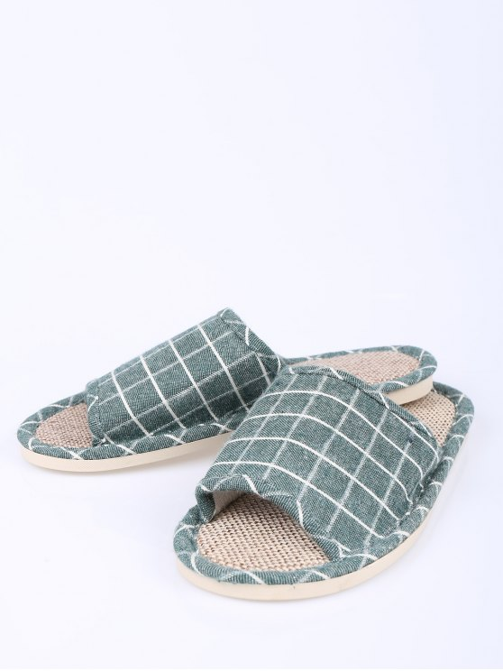 Linen Color Block Plaid House Slippers - GREEN SIZE(37-38) Mobile