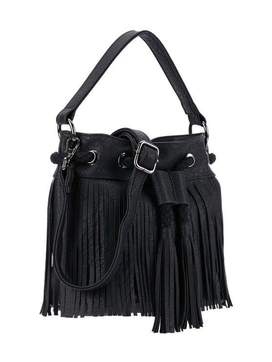 Fringe Drwstring Bucket Bag - BLACK  Mobile