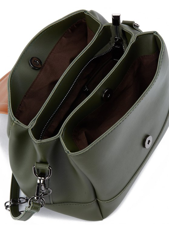 Buckle Strap Color Block Bucket Bag - ARMY GREEN  Mobile