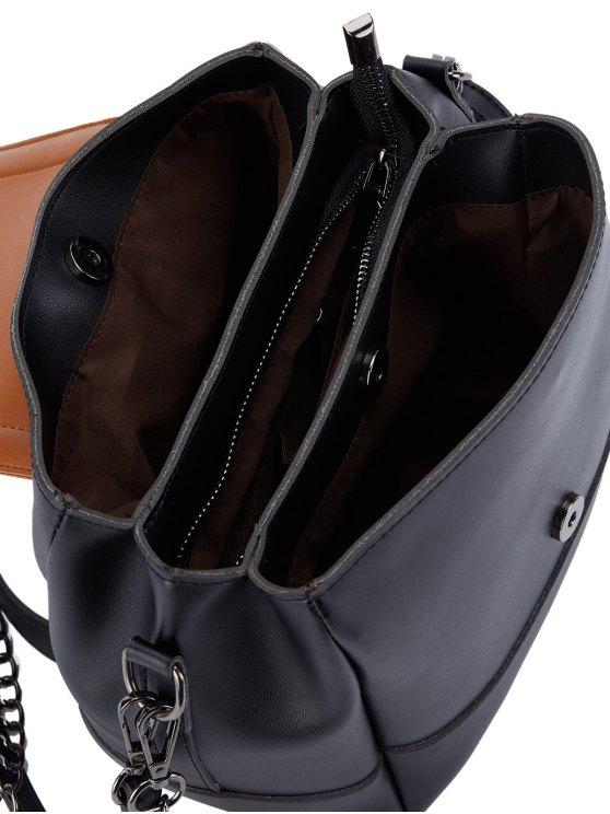 Buckle Strap Color Block Bucket Bag - BLACK  Mobile