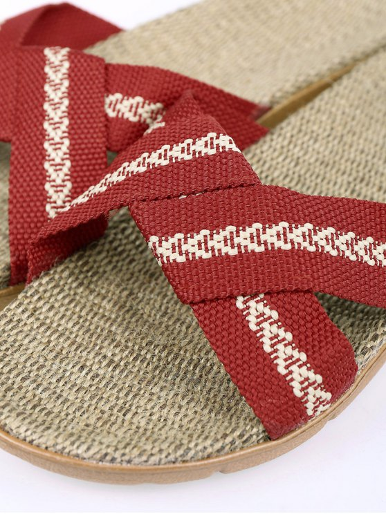 Linen Color Block Cross Straps Slippers - DEEP RED SIZE(37-38) Mobile