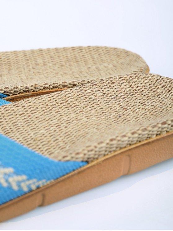 Linen Color Block Cross Straps Slippers - AZURE SIZE(39-40) Mobile