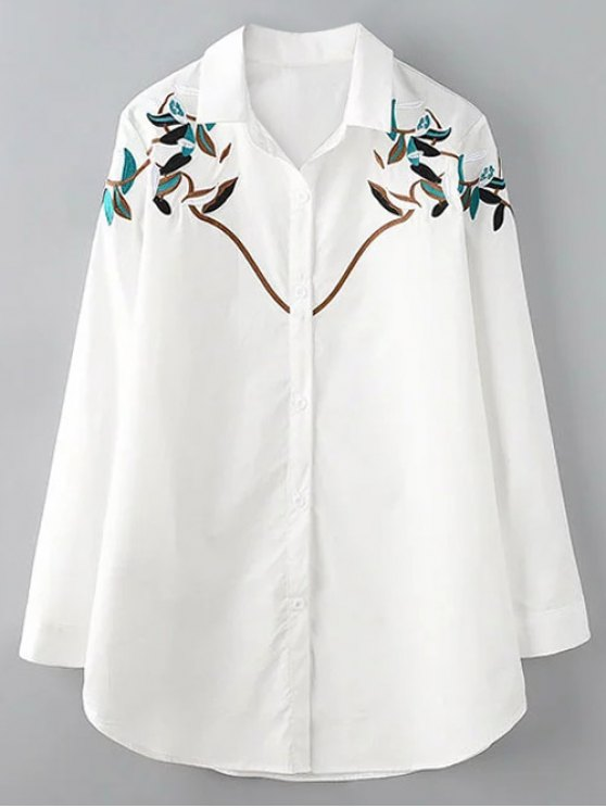 Button up branch embroidered shirt white blouses xl zaful