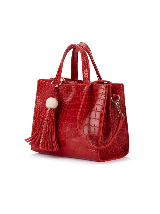 Crocodile Pattern Tassel Tote - RED  Mobile