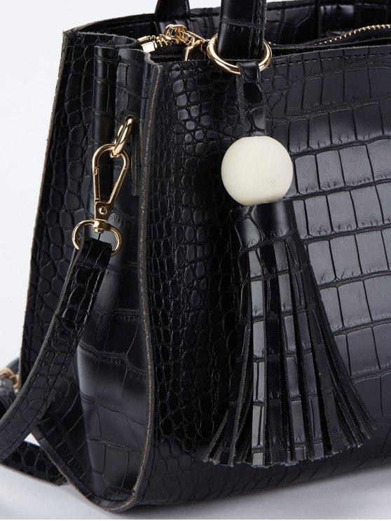 Crocodile Pattern Tassel Tote - BLACK  Mobile