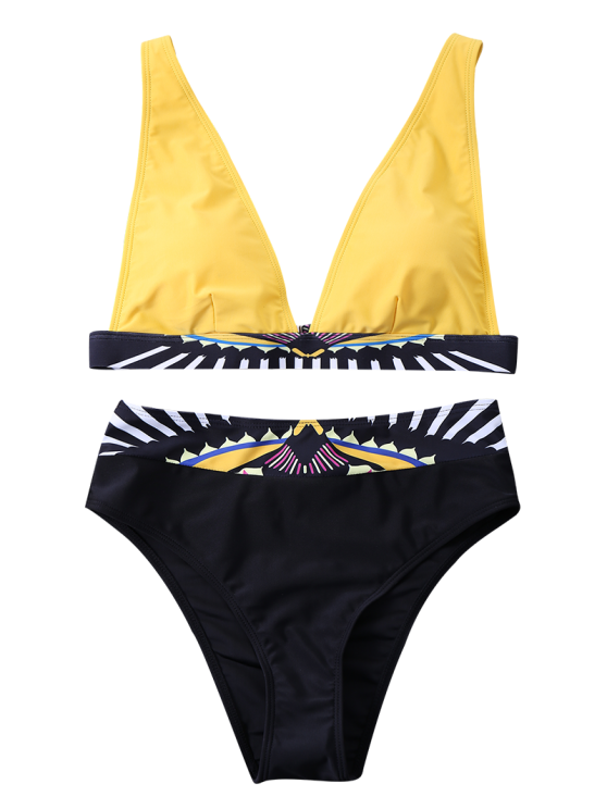 Geometric Panel Bikini Set - YELLOW M Mobile