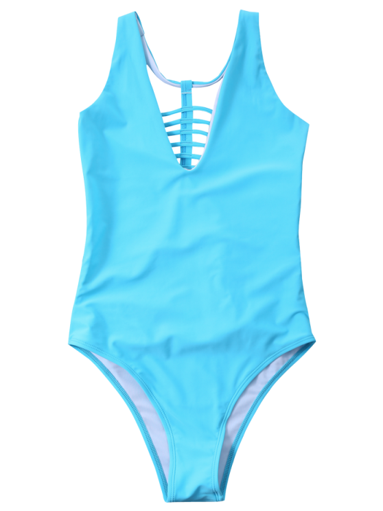 Strappy One-Piece Swimwear - BLUE S Mobile