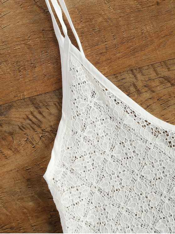 V Neck Sheer Lace Cami Top - WHITE M Mobile