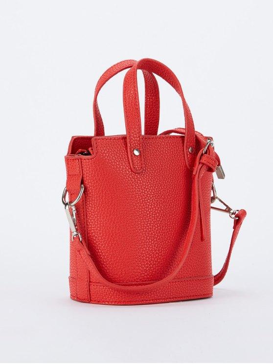Textured Crossbody Handbag - RED  Mobile