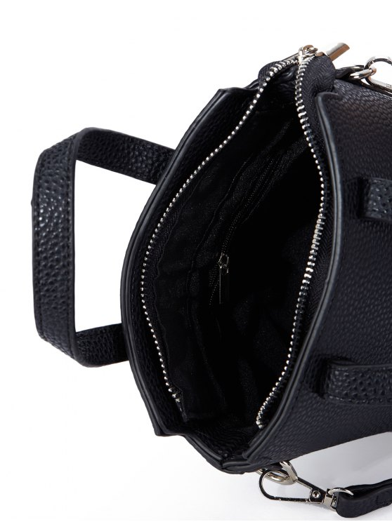 Textured Crossbody Handbag - BLACK  Mobile