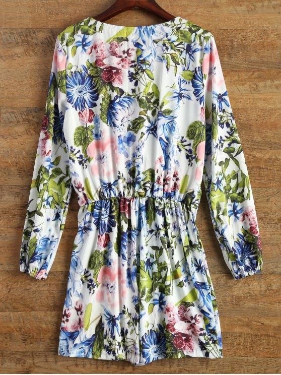Long Sleeve Wrap Floral Romper - BLUE 2XL Mobile