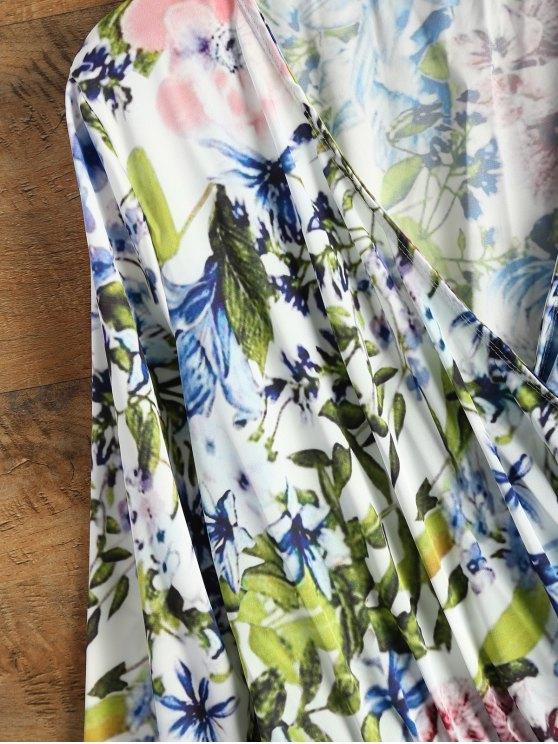 Long Sleeve Wrap Floral Romper - BLUE XL Mobile