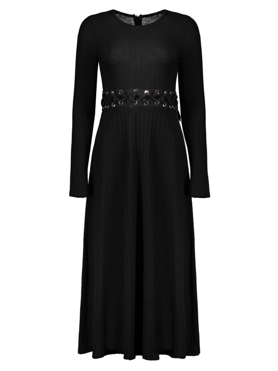 Ribbed A Line Midi Sweater Dress - BLACK M Mobile