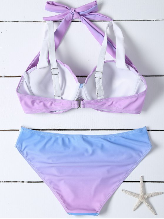 Ombre Color Mermaid Shell Bikini - BLUE + PURPLE S Mobile