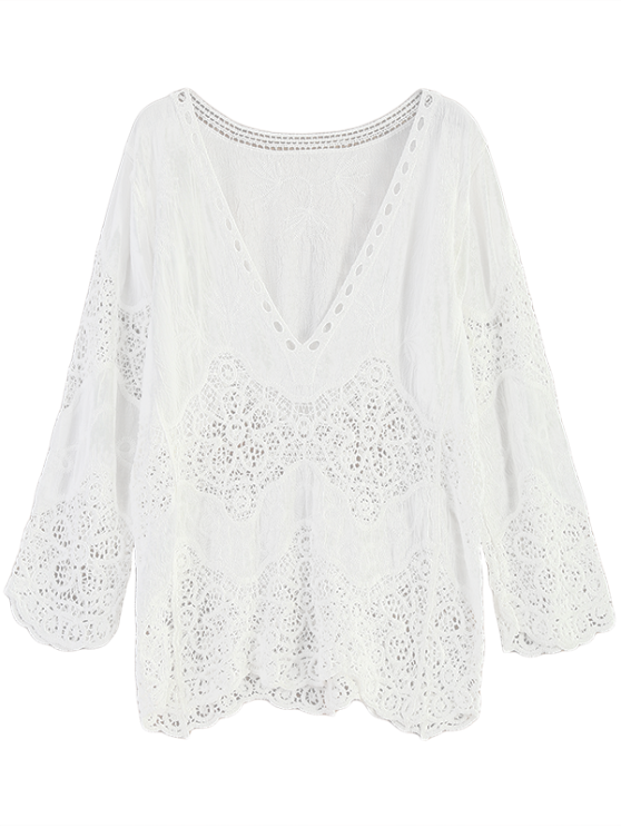 Crochet Plunge Beach Cover-Up Dress - WHITE ONE SIZE Mobile