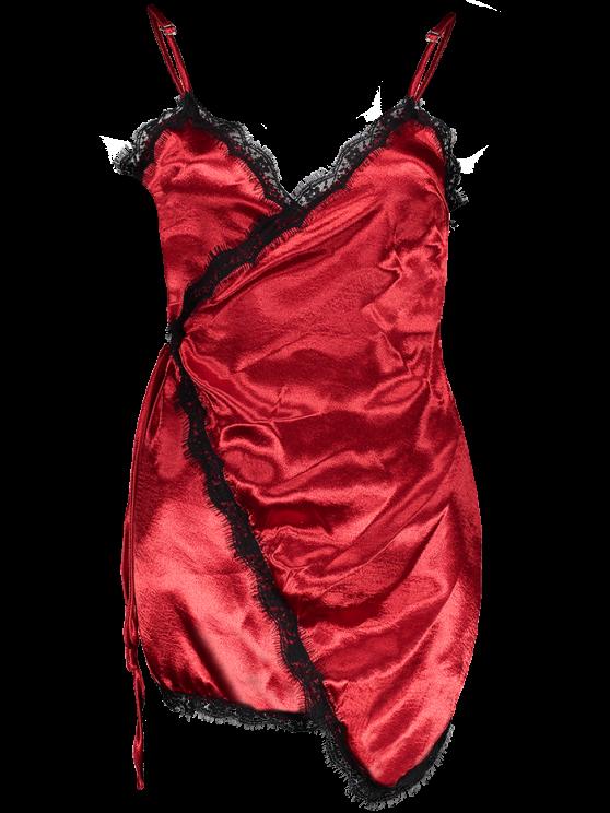 Lace Insert Wrap Slip Dress - BURGUNDY XL Mobile