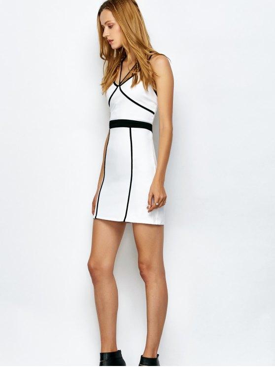 Piping Bodycon Bandage Slip Dress - WHITE M Mobile